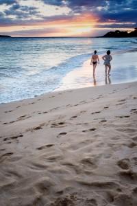 Sunset walk along Big Beach, Maui